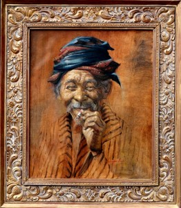 Nur Ali, Nikmatnya Hari Tua, Oil on Canvas, Wooden Frame