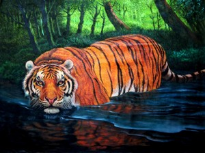 O.M.O., Tiger Crossing River 2009, Oil on Canvas, 120x90
