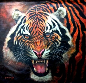 O.M.O., Tiger Growl II 2009, Oil on Canvas, 101x100