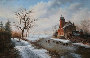 Old European Suburb Winter Landscape, Oil on Canvas, 90x60