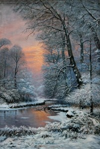 Old European Winter Sunset, Oil on Canvas 60x90